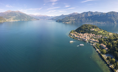 Panoramic aerial view of Bellagio on green promontory surrounded by Lake Como, Province of Como, Lombardy, Italian Lakes, Italy, Europe (Drone)
