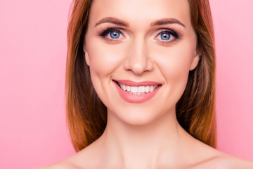 Mouth gums spa salon clean clear fresh purity medical concept. Close up portrait of beautiful pretty charming lady with toothy beaming shiny smile flawless smooth ideal skin isolated background