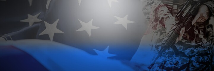 Composite image of close-up of american flag