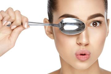 Eye Skin Care. Beautiful Woman With Healthy Skin