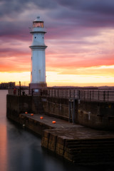 Newhaven Harbour at sunset, Edinburgh, Scotland, United Kingdom, Europe