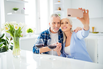 Portrait of lovely attractive stylish cheerful couple drinking alcohol red wine, shooting selfie on front camera, using smart phone, having video call, hand in hand, embracing, hug