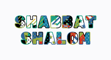 Shabbat Shalom Concept Word Art Illustration