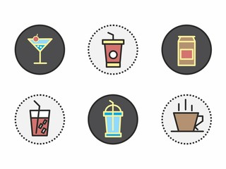 original and creative icons of drinks, cocktails