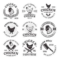 Chicken meat set of vector emblems, labels, badges