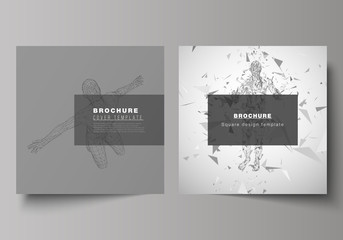 The minimal vector illustration of editable layout of two square format covers design templates for brochure, flyer, magazine. Artificial intelligence concept. Futuristic science vector illustration.