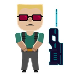 Cartoon soldier with cool hairstyle and sunglasses and gun