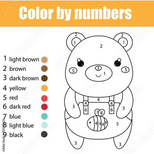 Children Educational Game Coloring Page With Cute Bear Color By Numbers Printable Activity