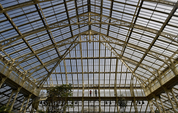 People stand inside the newly restored Victorian Temperate House which has been re-opened to the public following a five year restoration programme in Kew Gardens, London, Britain