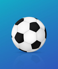 3d soccer ball with shadow. Vector illustration