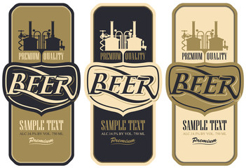 Vector set of three retro style beer labels with brewery production line
