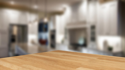 Empty wood table top on blur cafe (restaurant) selective focus.For montage product display.3d illustration