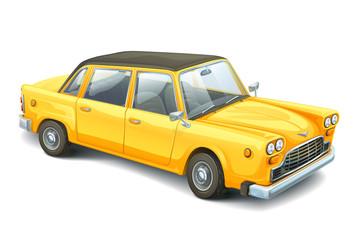 Yellow retro style cartoon car.