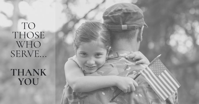memorial day message with soldier and daughter holding american
