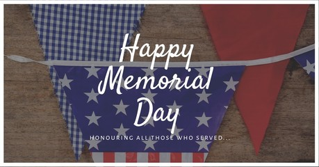 memorial day message with bunting photo background and white