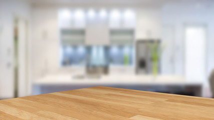 Empty wood table top on blur kitchen selective focus.For montage product display.3d illustration