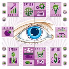 Infographics template, human eye, looking eye idea, vector illustration.