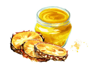 Organic fruit jam. Glass jar of pineapple marmalade and fresh fruit isolated on white background. Watercolor hand drawn  illustration