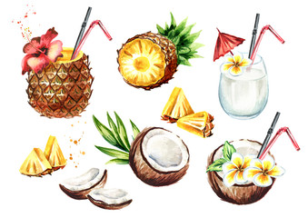 Pina colada cocktail set with coconut and pineapple. Watercolor hand drawn illustration,  isolated on white background