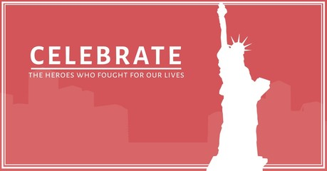 memorial day message with statue of liberty and city skyline