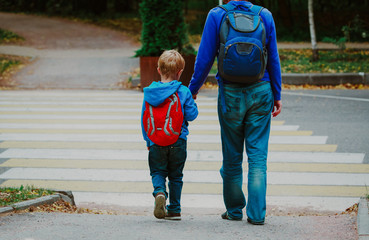father and son go to school, education