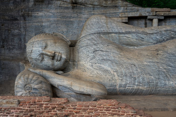 Reclining Buddha statue, Gal Vihara at Polonnaruwa, a UNESCO World Heritage Site in Sri Lanka, Asia