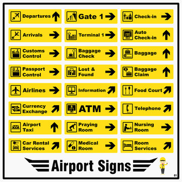 Set of airport markings and signs for standards using to identify direction of various locations and purposes around an airport.