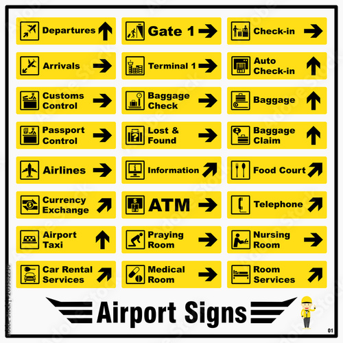 Set Of Airport Markings And Signs For Standards Using To Identify