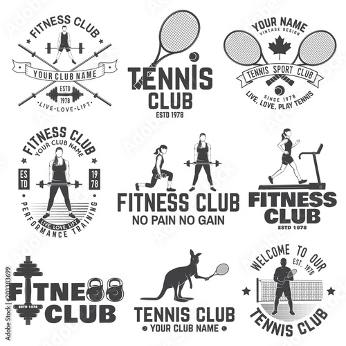 Set Of Fitness And Tennis Club Concept With Girls Doing Exercise And