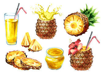 Pineapple products set. Watercolor hand drawn illustration  isolated on white background