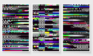 Glitch background. Computer screen error. Glitch smartphone wallpapers set. Digital pixel noise abstract design. Video game. Television signal fail. Data decay. Technical problem grunge wallpaper.