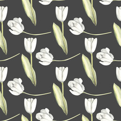 Hand painted watercolor floral pattern seamless white tulips background dark grey