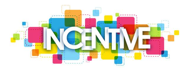 """""""INCENTIVE"""" multicoloured letters vector icon"""