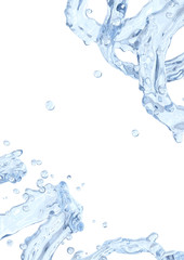 Water splash with water droplets isolated.  Liquid template design element. 3D illustration.