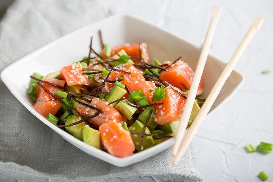 Poke with salmon and avocado
