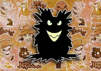Cartoon halloween illustration set of diverse evil bizarre creatures and characters, vampires, zombies, monsters, imps, evil mascots