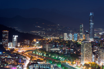 Panoramic view of Providencia and Las Condes districts, Santiago de Chile