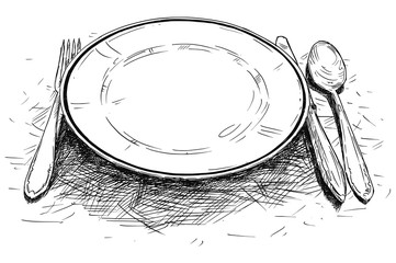 Vector artistic pen and ink drawing illustration of empty plate, knife and fork.