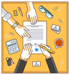 Bank customer write a sign on financial form of money credit with employee helps him and explains the terms of loan or Businessman signs contract paper, top view of desk with people hands. Vector.