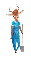 Antelope farmer holding a shovel