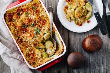 Canvas Prints Brussels Baked brussel sprout gratin with a bacon and bread crumbs