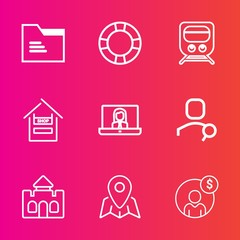 Premium set with outline vector icons. Such as tower, communication, money, map, float, object, account, blank, accounting, technology, store, train, folder, swim, video, internet, cart, architecture