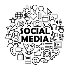"""""""SOCIAL MEDIA"""" concept icons in circle"""