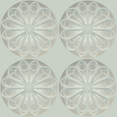 3d illustration. Seamless texture based on sacred geometry. Decorative round rose window of а church on a white background.