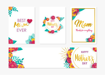 Happy mother day spring flower art card set