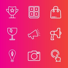 Premium set with outline vector icons. Such as technology, trophy, hand, photo, announcement, retail, currency, map, sound, equipment, glass, sport, megaphone, speaker, finance, business, voice, pin