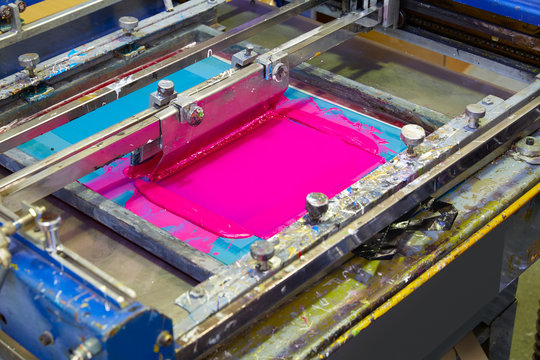 Serigraphy Printer ink machine pink magenta color