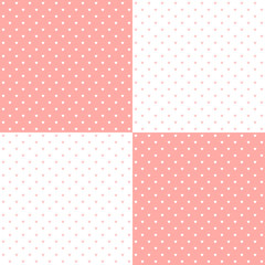 Pink pastel heart shape retro design polka dots background pattern, two inverted tiles