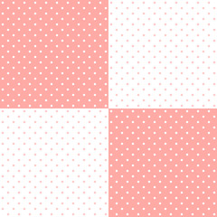 Pastel pink retro design polka dots background pattern, two inverted tiles