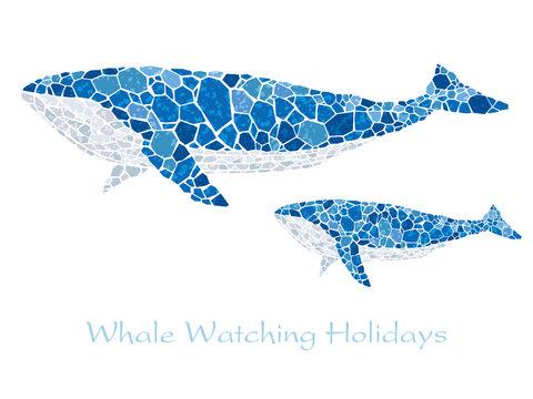 モザイクアート クジラ